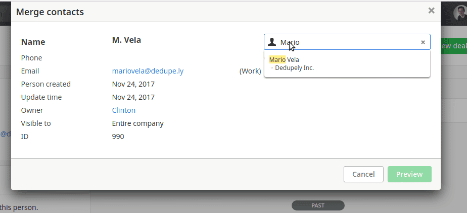 Pipedrive Merge Contacts Screen