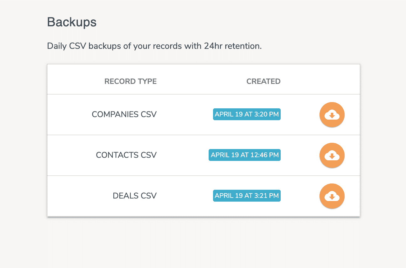 CSV CRM Backups
