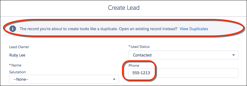 Salesforce lead creation form showing a popup when a duplicate is found based on the rule created.