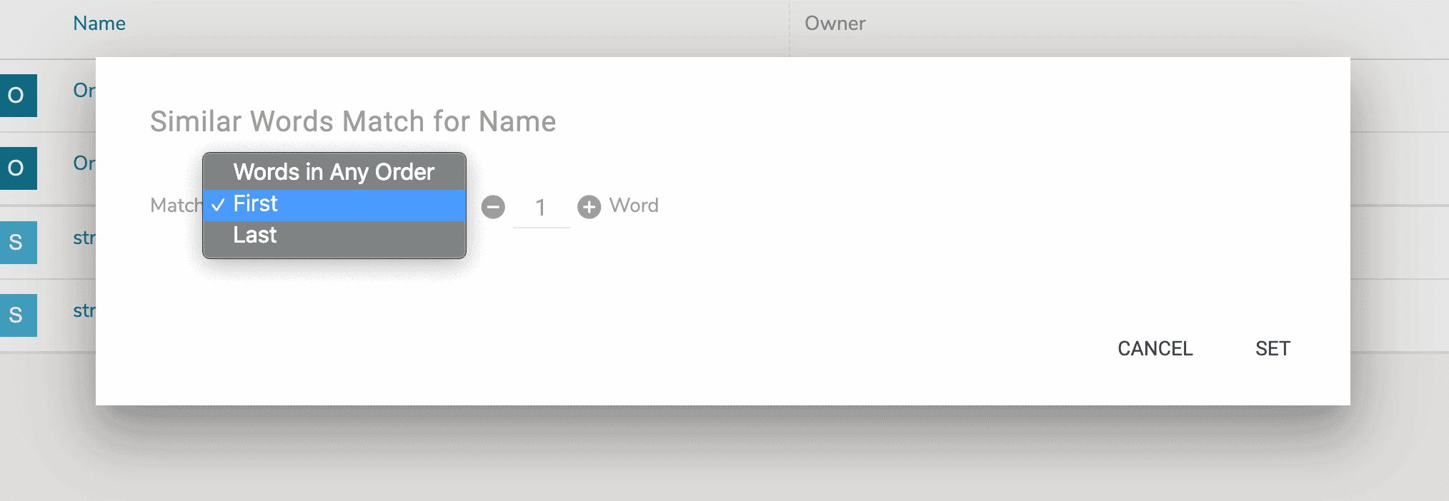 similar word match dialog box