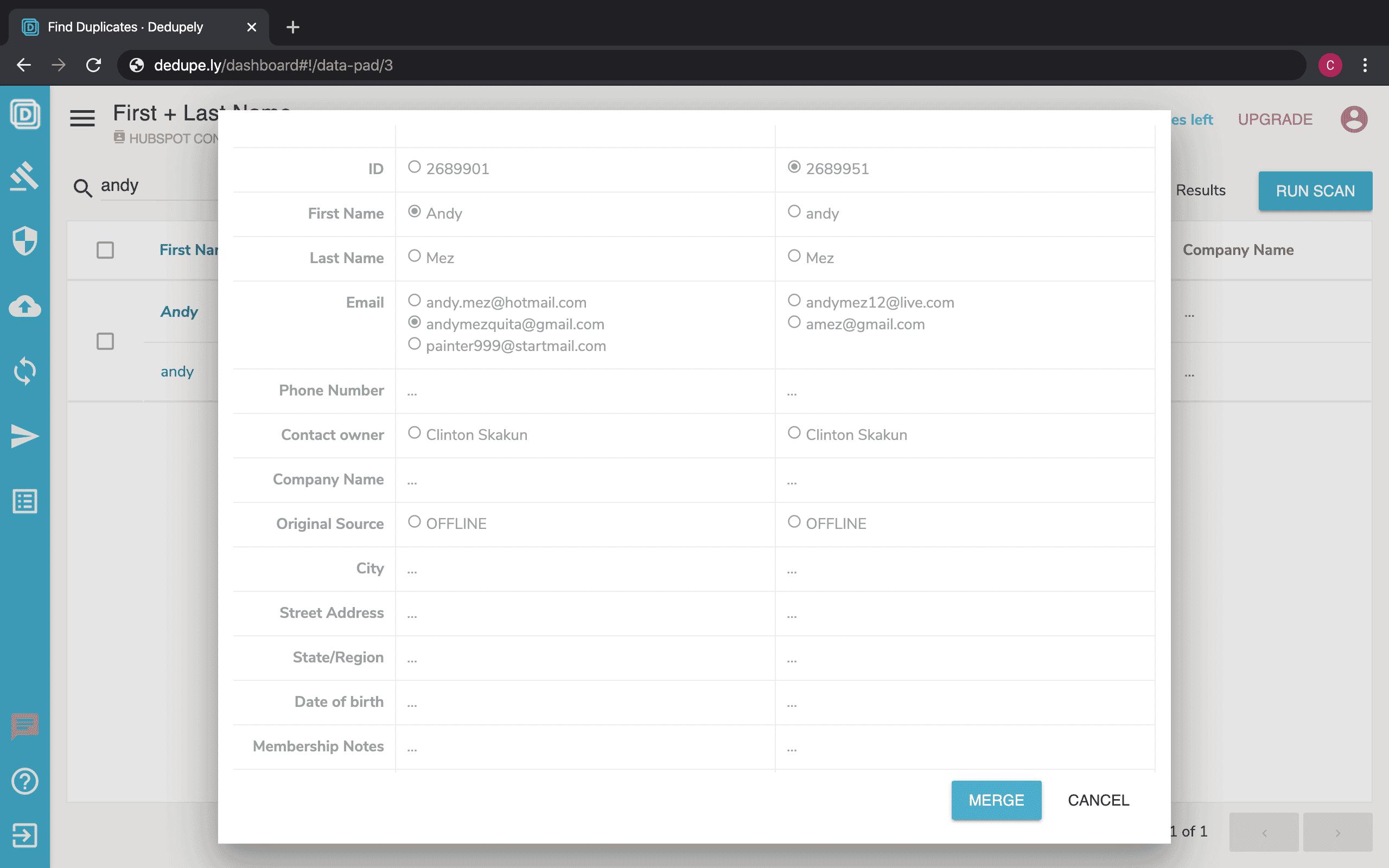 Custom merge